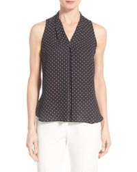 Vince Camuto | White Polka Dot Pleat Front V-neck Blouse | Lyst