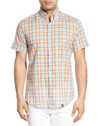 Stone Rose - Orange Trim Fit Plaid Sport Shirt for Men - Lyst