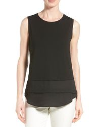 Vince Camuto - Black Tiered Mixed Media Top - Lyst