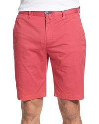 Bugatchi - Pink Stretch Twill Shorts for Men - Lyst