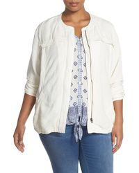 Lucky Brand - White Collarless Linen-Blend Jacket - Lyst