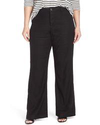 NYDJ - Black 'claire' Stretch Wide Leg Linen Blend Trouser Jeans - Lyst