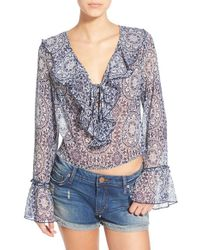 Band Of Gypsies - Gray Ruffle Front Sheer Blouse - Lyst