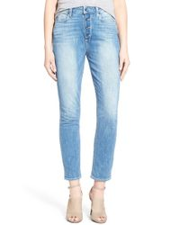PAIGE - Blue 'carter' High Rise Slim Jeans - Lyst