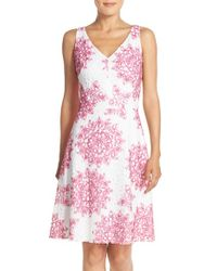 Maggy London - Pink 'star Medallion' Lace Fit & Flare Dress - Lyst