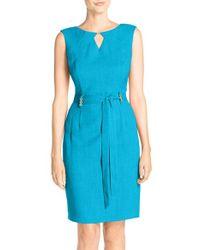 Ellen Tracy | Red Cutout Woven Sheath Dress | Lyst