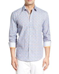 Bugatchi - Blue Shaped Fit Medallion Sport Shirt for Men - Lyst