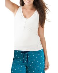 Amoralia - White Maternity/nursing Button Tank & Pajama Shorts Set - Lyst