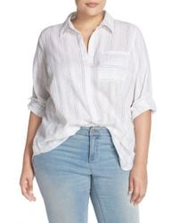 Two By Vince Camuto - White Stripe Linen & Cotton Tunic Shirt - Lyst