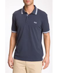BOSS Green | Blue 'paddy' Modern Fit Golf Polo for Men | Lyst