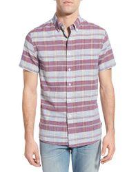 Grayers - Purple 'salterton' Regular Fit Pattern Poplin Short Sleeve Sport Shirt for Men - Lyst