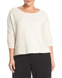 Eileen Fisher - White Bateau Neck Boxy Sweater - Lyst