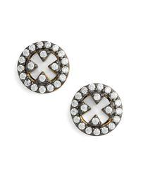 Freida Rothman - White 'harlequin' Pave Stud Earrings - Lyst
