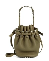 Alexander Wang | Green 'small Diego - Nickel' Leather Bucket Bag | Lyst