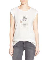 Pam & Gela - White 'frankie' Logo Match Embellished Graphic Tee - Lyst