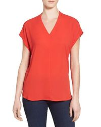 Pleione | Red High/low V-neck Mixed Media Top | Lyst