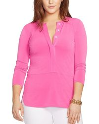 Lauren by Ralph Lauren - Pink Elongated Jersey Top - Lyst