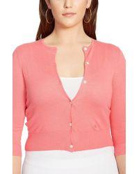 Lauren by Ralph Lauren - Pink Cotton & Modal Crewneck Cardigan - Lyst