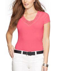 Lauren by Ralph Lauren - Pink Crochet Trim V-neck Tee - Lyst