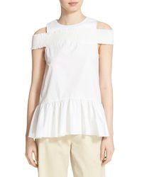 Tibi - White Smocked Off The Shoulder Top - Lyst