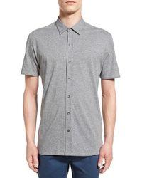 W.r.k. - Gray . 'metropolitan' Knit Short Sleeve Sport Shirt for Men - Lyst