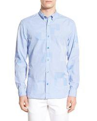 Burberry Brit - Blue 'cordell' Trim Fit Check Sport Shirt for Men - Lyst