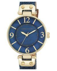 Anne Klein   Metallic Denim Strap Watch   Lyst