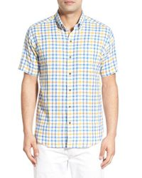 Cutter & Buck - Blue 'abalone Check' Short Sleeve Sport Shirt for Men - Lyst