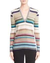 Missoni | Natural Stripe Metallic Knit Sweater | Lyst