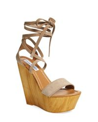 Steve Madden - Brown 'plmbeach' Platform Wedge Sandal - Lyst