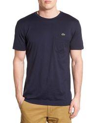 Lacoste - Black Super Fine Crewneck Pocket T-shirt for Men - Lyst