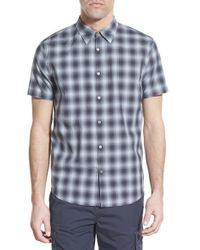 John Varvatos - Blue Trim Fit Plaid Short Sleeve Sport Shirt for Men - Lyst