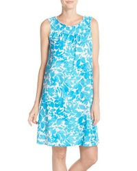 Lauren by Ralph Lauren | Blue Print Jersey Smocked Nightgown | Lyst