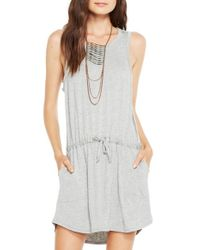 Chaser - Gray Drape-Back Stretch-Jersey Dress - Lyst