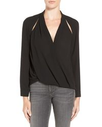 Trouvé | Black Cutout Surplice Top | Lyst
