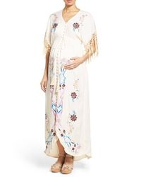 eb062df05f Lyst - Fillyboo  bojangles  Embroidered Maternity Kimono Maxi Dress