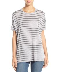 Eileen Fisher | Gray Stripe Merino Wool Short Sleeve Tee | Lyst