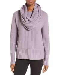 Nordstrom Collection | Purple Texture Knit Cashmere Pullover With Snood | Lyst