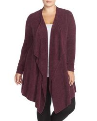 Barefoot Dreams | Red Barefoot Dreams Drape Front Cardigan | Lyst