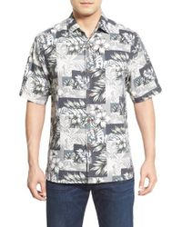 Tommy Bahama - Black 'plumeria Patchwork' Silk Camp Shirt for Men - Lyst