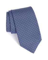 JZ Richards - Blue Geometric Grid Silk Tie for Men - Lyst