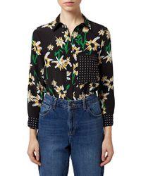 TOPSHOP - Black 'daisy' Print Silk Shirt - Lyst