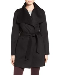 T Tahari | Black Tahari 'ella' Belted Double Face Wool Blend Wrap Coat | Lyst