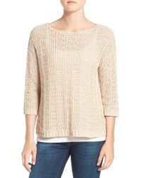 Eileen Fisher - Natural Organic Cotton & Linen Open Knit Bateau Neck Sweater - Lyst