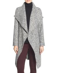 Bebe | Gray Tweed Wrap Coat | Lyst