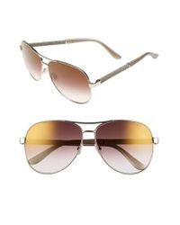 Jimmy Choo | Metallic 'lexie' 61mm Aviator Sunglasses - Light Gold | Lyst
