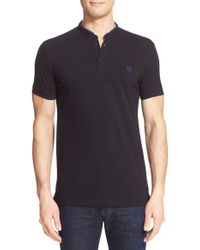 The Kooples | Black Grosgrain Trim Band Collar Polo for Men | Lyst