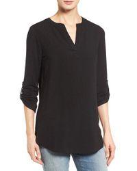 Pleione | Black Split Neck Roll Sleeve Tunic | Lyst
