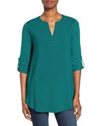 Pleione | Green Split Neck Roll Sleeve Tunic | Lyst
