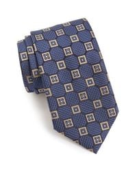 Ermenegildo Zegna - Blue Geometric Medallion Silk Tie for Men - Lyst